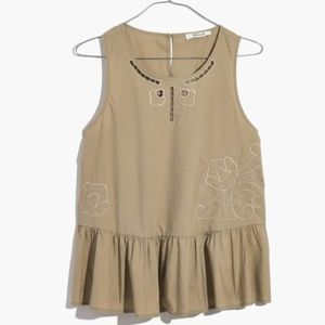 Madewell Embroidered Peplum Tank Top